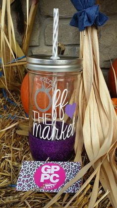 Off the Market  Glitter Dipped  Mason Jar  Tumbler by GPPCreations