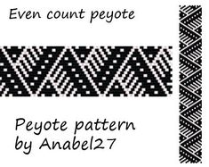 Pattern made with size 11/0 Miyuki Delica seed beads  Approx width: 0.95 (18 columns)  Approx length: 6.71 Technique: Even Count Peyote  Colors: 2