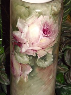 Austria/Limoges Tall Vase with Bischoff Inspired Pink and Yellow Roses from allthingslovelee on Ruby Lane