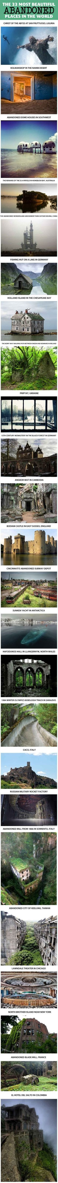 33 abandoned places. I want to visit all of these! Wow!