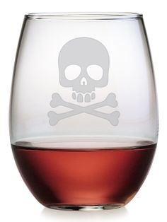 Skull & Crossbones Stemless Wine Glasses (Set of 4) by Susquehanna Glass Co. at Gilt