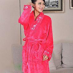 Bath Robe,High-class Woman Rose Decorative Collar Garment Thicken – USD $ 24.99