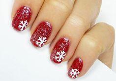 nagel design bildergalerie nail art weihnachten rot schneeflocken