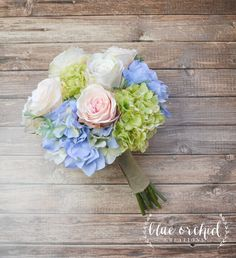 Silk Bouquet, Hydrangea and Rose Bouquet, Silk Wedding Bouquet, Peach and Cream, Blue and Green, Hydrangea Bouquet, Bridal Bouquet, Flowers by blueorchidcreations on Etsy