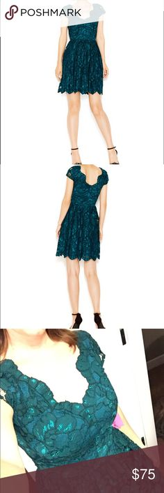 NWT Betsey Johnson Green Lace Cap Sleeve Dress Gorgeous deep green lace dress with stunning cutout neckline and back. Areas of teal under the lace really makes the color pop even more! Fully lined with zipper closure. Cap sleeves, allover lace, fit and flare silhouette. Wish it fit me better (and I was taller)! Would be perfect for a fall/winter wedding and the holidays! New with tags. Betsey Johnson Dresses Mini