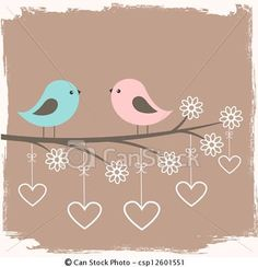 Vector - Couple of cute birds - stock illustration, royalty free illustrations, stock clip art icon, stock clipart icons, logo, line art, EPS picture, pictures, graphic, graphics, drawing, drawings, vector image, artwork, EPS vector art