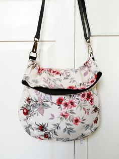 Recycled messenger bag maroon floral curtain by bagswithhistory, $54.00