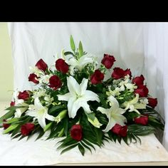 Casket spray white lilies and red roses but add some white roses also. Casket Flowers, Grave Flowers, Cemetery Flowers, Church Flowers, Funeral Flowers, Silk Flowers, Wedding Flowers, Funeral Floral Arrangements, Flower Arrangements