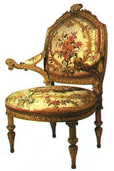 Giuseppe Maria Bonzanigo (1745-1825) armchair, 1775.   The personal touch of Bonzanigo in this version of Louis XVI-style   furniture s evident in the intricate carving of the arms and legs.
