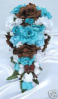 brown and turquoise wedding | 21pc Bridal Bouquet Wedding Flower Turquoise Brown | eBay