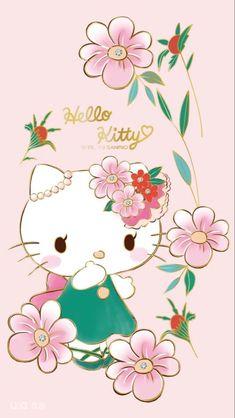 Walpaper Hello Kitty, Pink Wallpaper Hello Kitty, My Melody Wallpaper, Hello Kitty Backgrounds, Sanrio Wallpaper, Kawaii Wallpaper, Hello Kitty House, Melody Hello Kitty, Hello Kitty Art