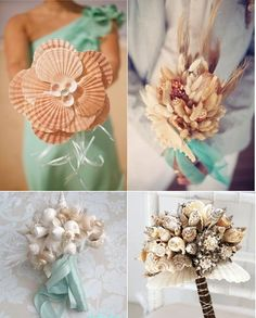 Dahlia's Day - The Wedding Talk Blog for the Practical Bride: Pretty Beach Bouquets Made with Shells