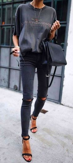 grey + black. skinny jeans. #streetstyle #FashionAccessoriesforTeens