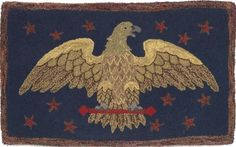 Hooked Rug with Eagle and Stars