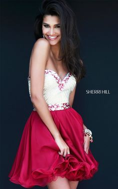 Sherri Hill 1929 Short Prom Ruby Fitted Bodice DressOutlet