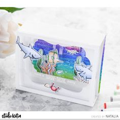 It's Natalia here and today I share with you my super cute diorama/shadow box card using beautiful Studio Katia supplies from the latest release – JAWSOME and UNDER THE SEA. Cute Images, Copic Markers, Distress Ink, Under The Sea, Shadow Box, I Card, Shark, Stencils, Card Making