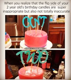 Photo shared by Mouthy Moms Club on October 23, 2020 tagging @macgyveringmom22. Image may contain: candles and drink, text that says 'When you realize that the flip side of your 2 year old's birthday candles are super inappropriate but also not totally inaccurate CUNT @MACGYVERINGMOM22 TwD'. Funny Mom Memes, Mom Jokes, Funny Pins, 2 Year Old Birthday, Mommy Humor, Laughter Therapy, Funny Jokes For Adults, Seriously Funny, Humor