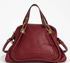 Chloe leather maroon tote bag