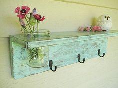 Rustic wood shelf, distressed shabby chic, Aqua, cottage beach home decor, wall shelves. $42.00, via Etsy. How cute!