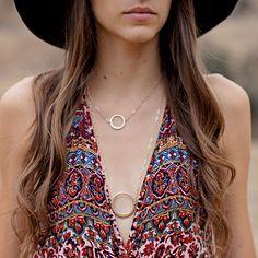 Urban Circle Necklace. #layered #circle #jewelry #gold