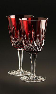 Lismore Goblet Ruby Waterford Lismore, Waterford Crystal, Glass Bottles, Wine Glass, Glass Art, Zen Pictures, Dinner Sets, Bottle Art, Antique Glass