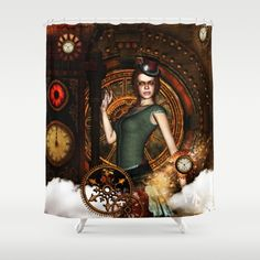 The steampunk lady Shower Curtain by Button Hole, Curtain Rods, Shower Curtains, Hooks, Steampunk, Clock, Artists, Printed, Usa