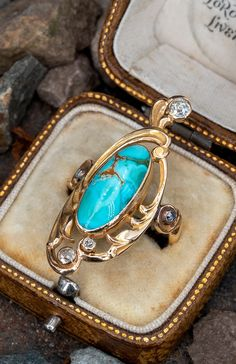This unique turquoise ring dates from the Art Nouveau era, turn of century. . Sku AB18136 Diamond Art, Rose Cut Diamond, Art Nouveau Ring, Big Rings, European Cut Diamonds, Cocktail Rings, Turquoise Bracelet, Wedding Rings, Jewels