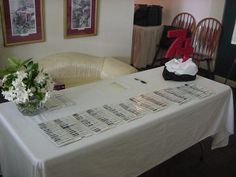 registration tablelook at the 74 display to the right of table reunion decorationstable decorationsfamily
