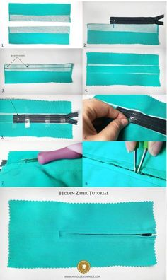 Sewing For Beginners Easy How to Sew a Zipper. 3 easy ways Free Bonus - Learn to sew a Zipper. This tutorial with show you How to Sew a Zipper in 3 different ways so you can install a zipper in a bag, on a dress, on a pillow. Techniques Couture, Sewing Techniques, Sewing Hacks, Sewing Tutorials, Sewing Tips, Zipper Tutorial, Tutorial Sewing, Leftover Fabric, Love Sewing