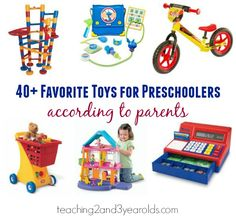 NOTICE: none of preschoolers favorite toys listed are ones that you push a button and it lights up and talks to you. These are toys with which they can actively engage in play. Thumbs up!!