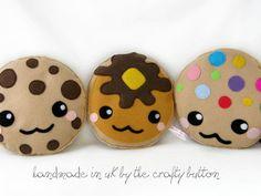 Kawaii  cookie plush toy cushion cute chocolate chip cookie m cookie cartoon face cute pillow felt. £10.00, via Etsy.