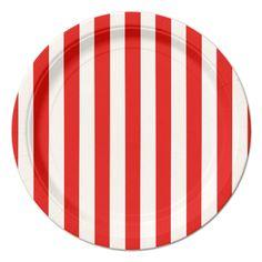 Red Stripe Dessert Plates (8)