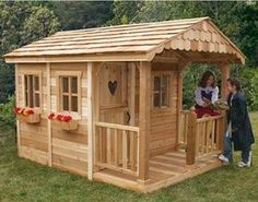 Sunflower Playhouse with 3 Functional Window and Cedar Deck Porch Cedar Playhouse, Kids Playhouse Plans, Outside Playhouse, Playhouse Kits, Backyard Playhouse, Build A Playhouse, Cedar Deck, Diy Deck, Building A Deck