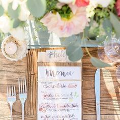 Watercolors and whimsical calligraphy add a fun vibe to any tablescape! 🍽🎨 📷 : I Lettered Menus: I Planning: I Venue: Handfasting, Elegant Wedding, Tablescapes, Knots, Whimsical, Wedding Inspiration, Place Card Holders, Lettering, Table Decorations