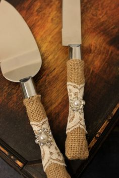 Wedding Cake Server and Knife Burlap and Lace by BrilliantBride Western Wedding Cake Cutter