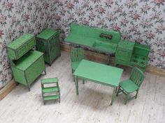 Tootsietoy Dollhouse Furniture. 8 Piece Kitchen Set in Green. Half from grannymares on Ruby Lane