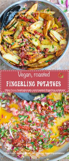 Crispy Oven-roasted fingerling potatoes in a rich vegan butter sauce | Vegan side dishes, meatless side dishes, comfort food, potato sides, father's day recipes, quick fingerling potatoes #vegan #potatoes #meatlessmonday #sides #comfortfood #tomato
