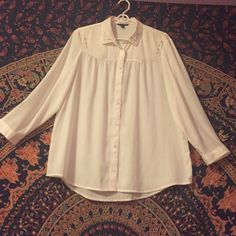 Blouse Sheer cream blouse, never worn, with matte silver studs, mid length American Eagle Outfitters Tops Button Down Shirts