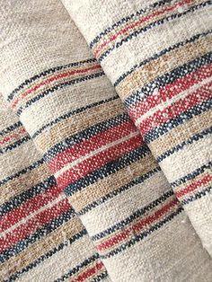 Antique European homespun hemp grain sack ~ lovely linen for bolster pillows, upholstery etc ~ stunning stripes! Weaving Textiles, Textile Fabrics, Weaving Patterns, Textile Texture, Fabric Textures, Loom Weaving, Hand Weaving, Linen Fabric, Hemp Fabric