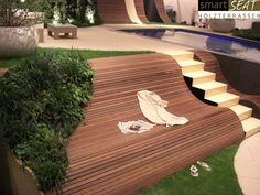 Sitzgelegenheiten am Hang, Terrasse mit Hang, Ufer u Seating on a slope, terrace with a slope, shore Garden Seating, Outdoor Seating, Outdoor Spaces, Outdoor Decor, Outdoor Living, Fairy Doors On Trees, Fairy Garden Doors, Wooden Terrace, Hillside Terrace