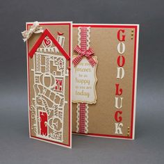Today I have another card to show you which I made using the new Tonic Studios Sentiment Panels. I used cream to make my card base scori. New Home Cards, House Of Cards, Wedding Shower Cards, Tonic Cards, Studio Cards, Elizabeth Craft, Home Wedding, Marianne, Crafts To Make