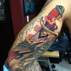Dagger Tattoo by Javier Franco