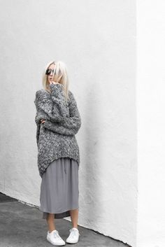 gray white oversized long sweater + gray midi skirt + white sneakers