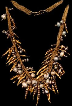 Courts and Hackett - a Pearl Pod Necklace from 1976...24k pods containing freshwater pearls.
