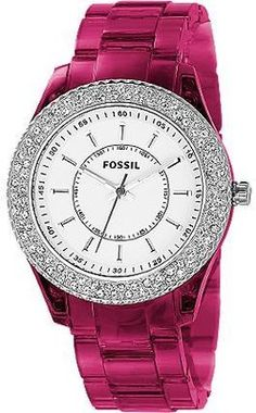 //fossil stella pink glitz watch//
