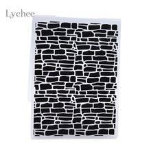 Lychee Plastic Embossing Folder For Scrapbook DIY Album Card Tool Plastic Template Irregular Bricks Design(China (Mainland))