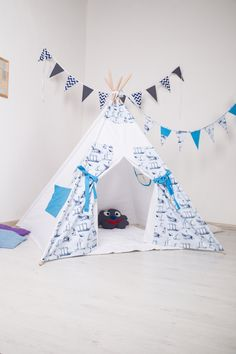 FREE SHIPPING!  Marine style. Children's Teepee Playtent  Children's House. Children's tent. Playhouse. Wigwam - pinned by pin4etsy.com