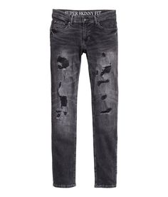 5-pocket jeans in washed stretch denim with heavily distressed details, regular waist, and super-skinny legs.   H&M Divided Guys