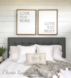 bedroom wall decor, love you more, love you most set » size 21 x 27 each » painted lettering » background color: white » lettering color: black » frame color: brown » this sign is made to be hung by the frame, there is no other hanging hardware installed » Our signs are made for