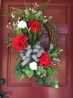 Grapevine Wreath, Summer Wreath, Red and Black Summer Door Wreaths, Easter Wreaths, Holiday Wreaths, Wreath Crafts, Diy Wreath, Grapevine Wreath, Black Wreath, Red Geraniums, Outdoor Wreaths